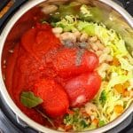 instant pot with tomatoes and vegetables