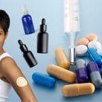 Woman wears a patch spray bottle, dropper bottle, pills in background