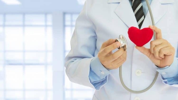 male doctor holds up heart plushie and stethoscope
